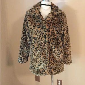 Vegan veggie faux fur leopard vintage fur coat SM